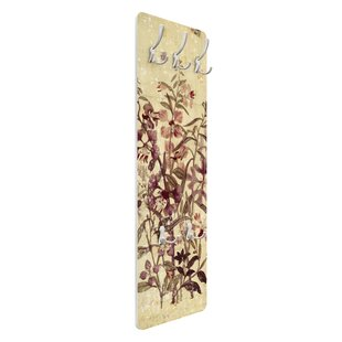 Review Vintage Floral Linen Look Wall Mounted Coat Rack