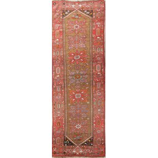 "One-of-a-Kind Klinger Heriz Geometric Bakhshayesh Persian Hand-Knotted 4'1"" x 12'1"" Runner 4'1"" x 12'1"" Wool Green/Brown Area Rug"