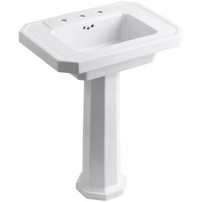 Kathryn Ceramic 27 Pedestal Bathroom Sink With Overflow