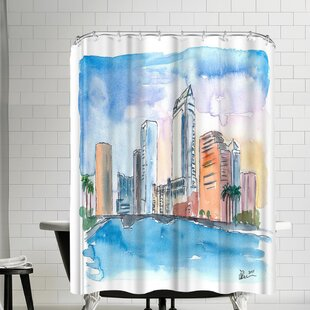 M Bleichner Austin Texas Skyline During Sunset Shower Curtain