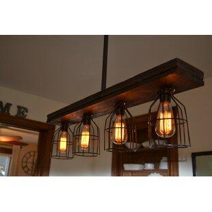West Ninth Vintage Triple Wood 4-Light Kitchen Island Pendant