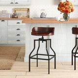 Willacoochee Swivel Solid Wood Adjustable Height Bar Stool by Birch Lane™
