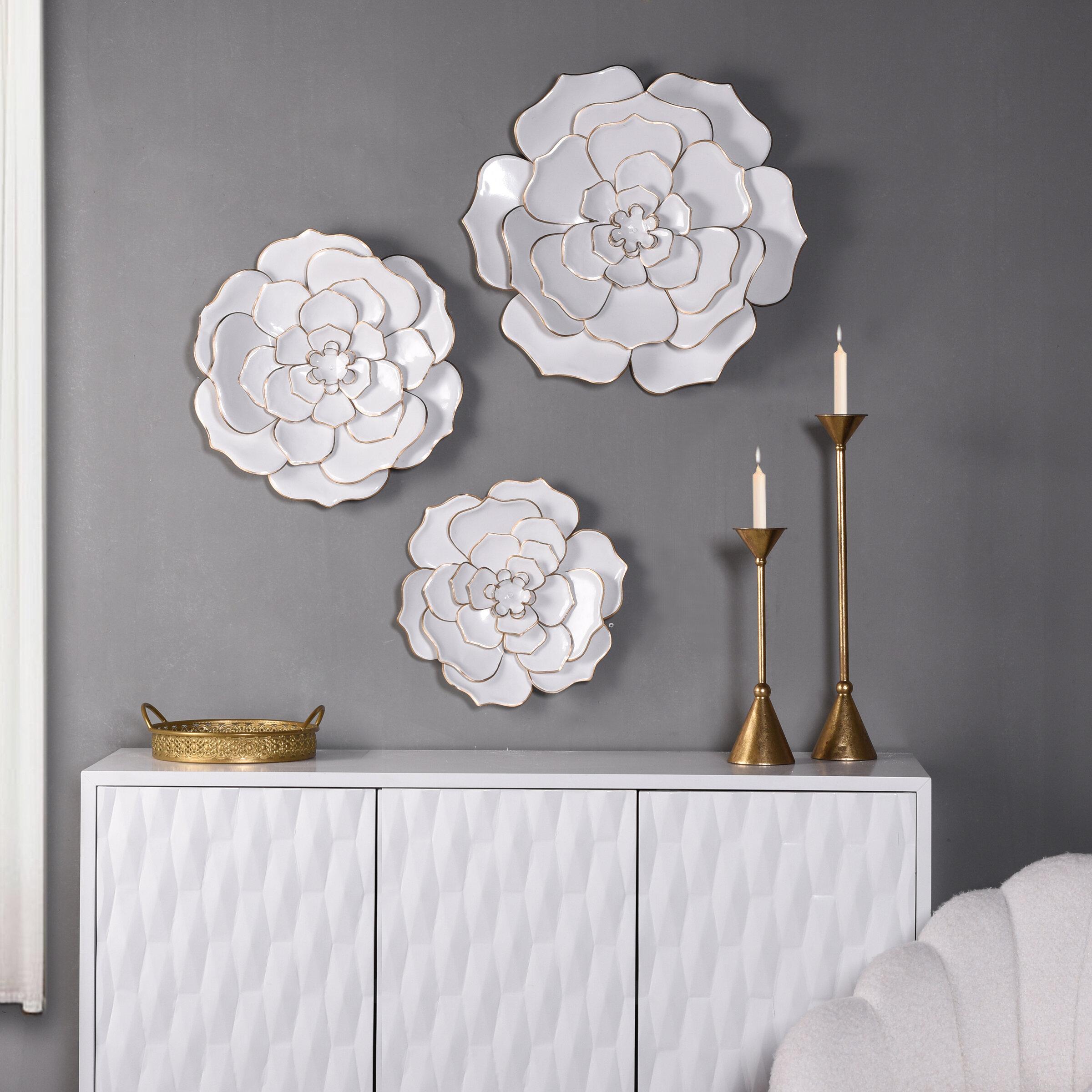 Everly Quinn 3 Piece Floral Metal Wall Decor Set Reviews Wayfair