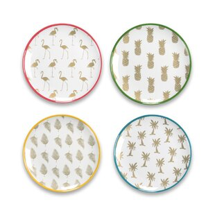 Pinyon Accents Assorted 4 Piece Melamine Salad Plate Set