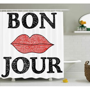 Kawamoto Lifestyle Hand Drawn Vintage Bon Jour Quote With Female Lips French Good Day Image Single Shower Curtain