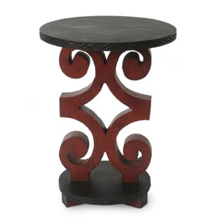 Neerav African Rams Horn Wood End Table