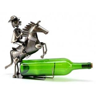 Cowboy on Horse 1 Bottle Tabletop Wine Rack