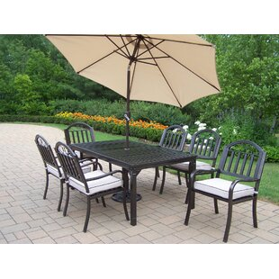 Lisabeth Contemporary 9 Piece Dining Set with Cushions and Umbrella