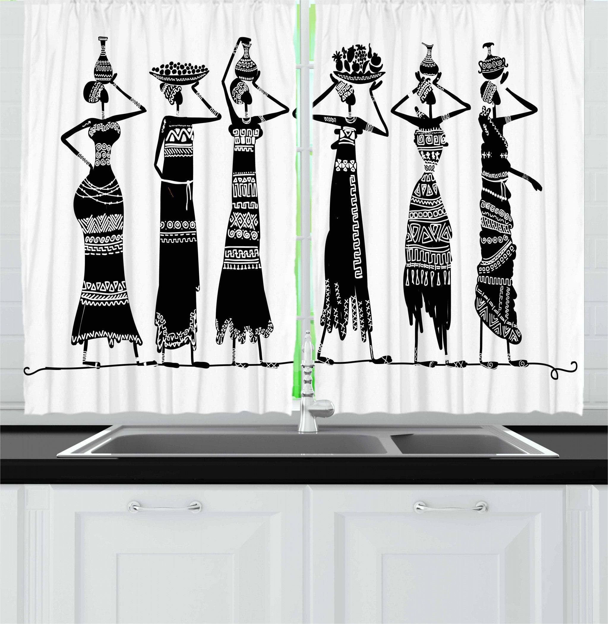 East Urban Home African 2 Piece Kitchen Curtain Wayfair