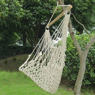 Beachcrest Home Ally Woven Rope Tree Hanging Indoor/Outdoor Cotton Chair Hammock