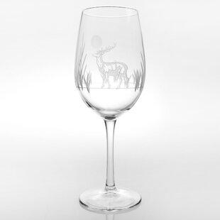 Deer 12 oz. Stemmed Wine Glass (Set of 4)