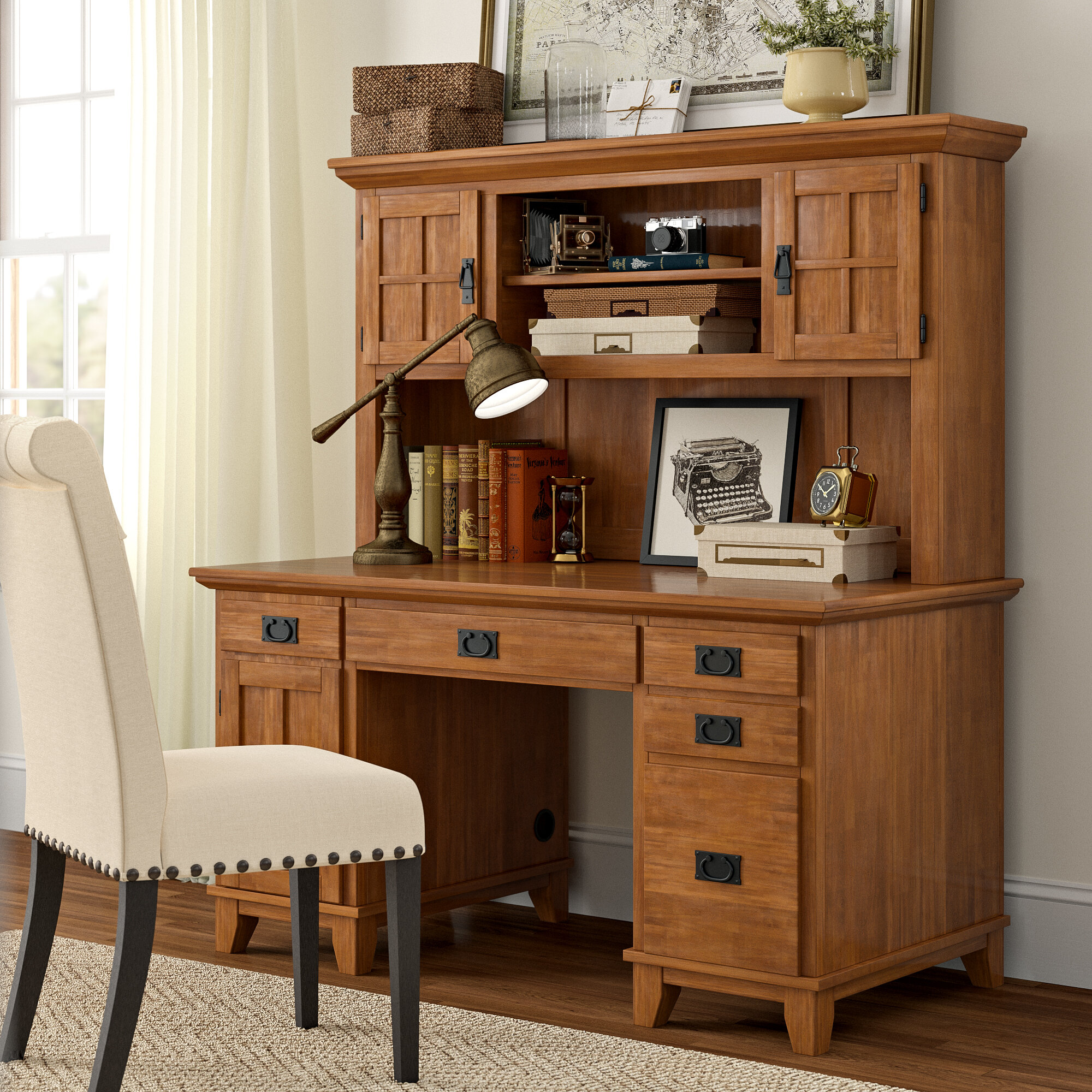 - Three Posts Ferryhill Pedestal Computer Desk With Hutch & Reviews