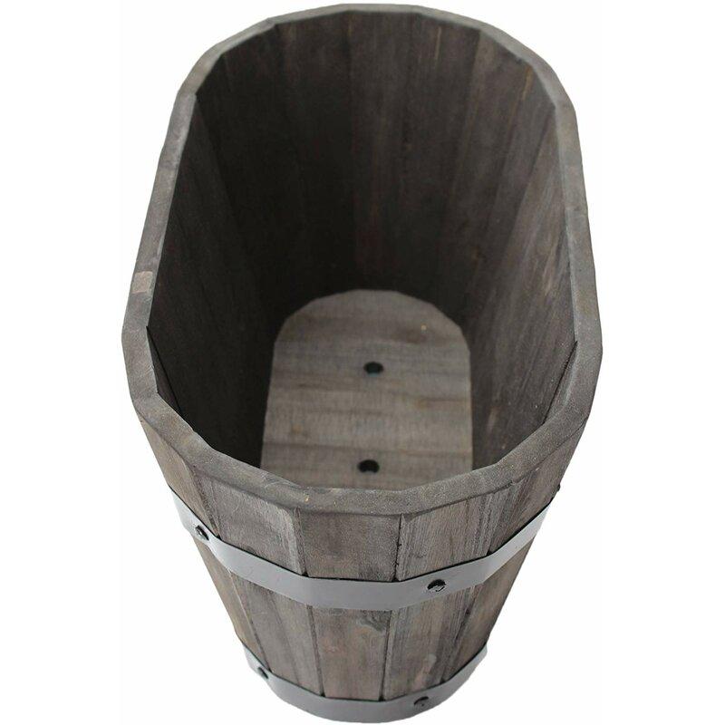 Color: White Oak x 9.5 in Happy Planter HP304 Medium Wood Barrel Outdoor Planter 3 Pc Pack Zen Garden 612409794925 x 16 in Size: 16 in