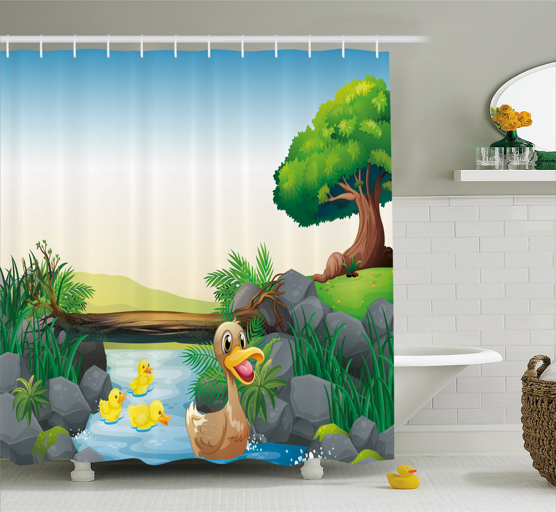 Zoomie Kids Karen Cartoon Farm Animals Lake Shower Curtain