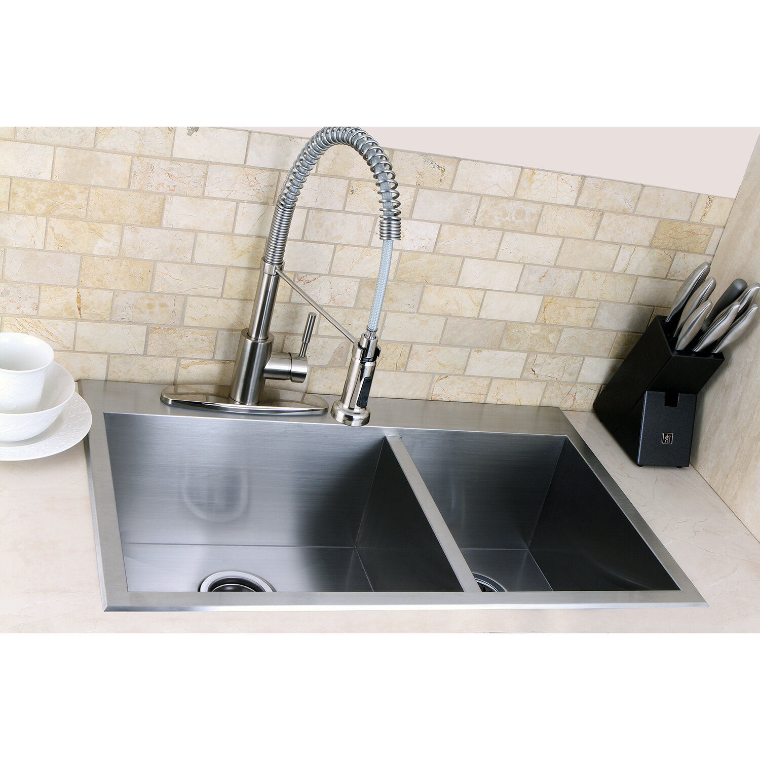 "Kitchen Sink Offset From Window: Kingston Brass Uptowne 31.5"" X 20.5"" Self-Rimming 70/30"