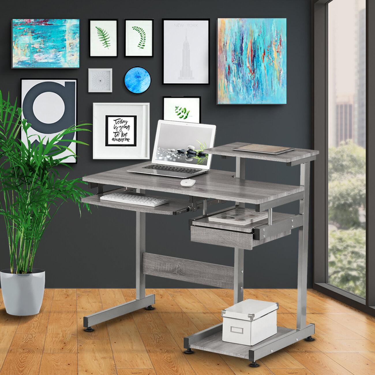 Exceptionnel Velia Compact Computer Desk With Hutch