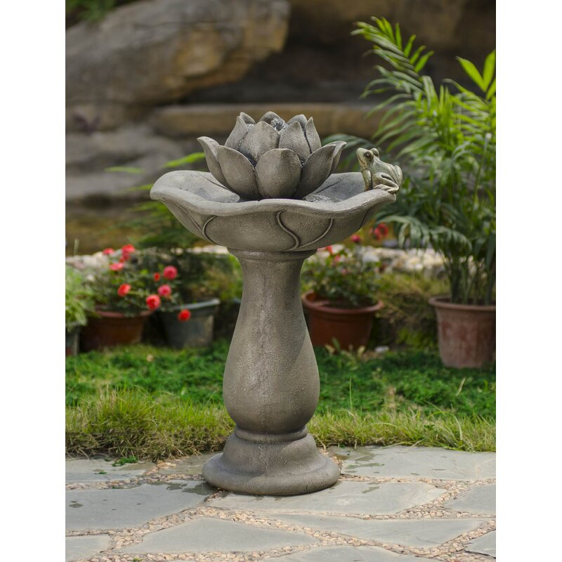 Jeco Inc Fiberglass Resin Lotus Flower And Frog Tiers Water Fountain Wayfair Ca
