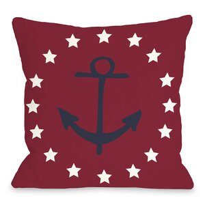 Anchor Circle Stars Throw Pillow
