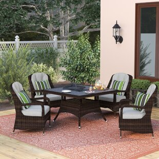 Three Posts Lemont 5 Piece Dining Set with Firepit and Cushions