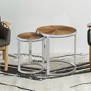 Eclisse Reclaimed Elm Wood 2 Piece Nesting Tables by Magari