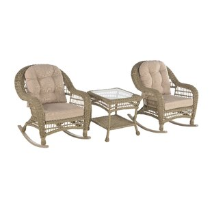 Outdoor Garden Patio 3 Pc Cappuccino Furniture Conversation Set With Rocking Chair By Highland Dunes