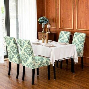Flower Print Stretch Box Cushion Dining Chair Slipcover (Set Of 2) By Fleur De Lis Living