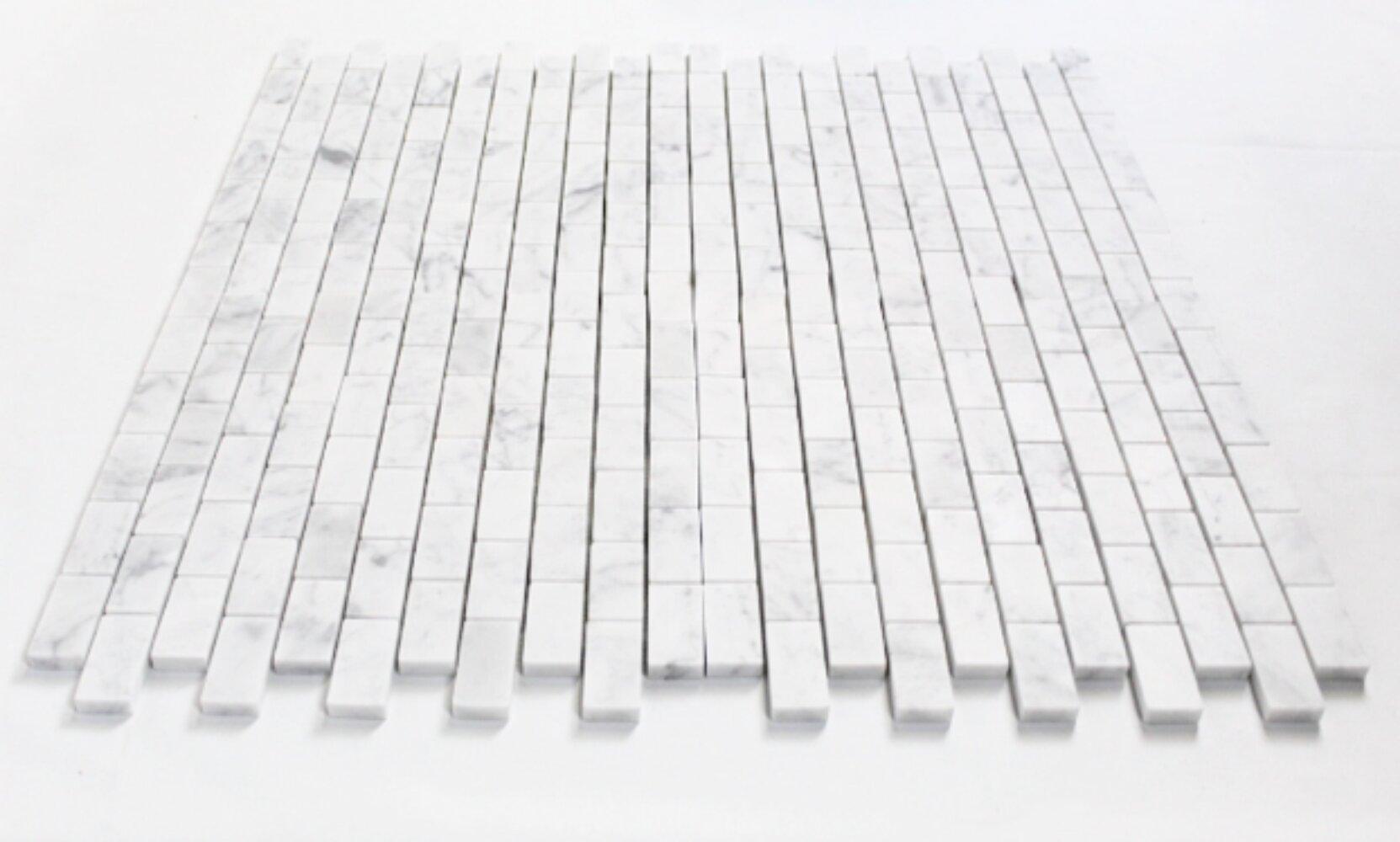 Rosabiancatileandstonellc Bianco Carrara 1 X 2 Marble Brick Joint Mosaic Wall Floor Tile Wayfair