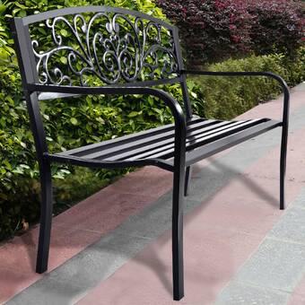 Wrought Studio Merrill Steel Garden Bench Reviews Wayfair