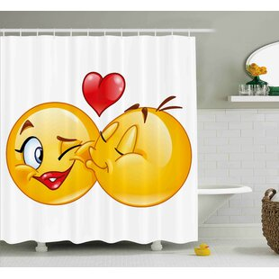 Alice Emoji Romantic Flirty Loving Smiley Faces Couple Kissing Eachother Hearts Image Art Print Single Shower Curtain