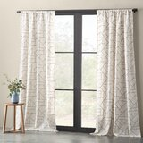 Embroidered Linen Geometric Semi-Sheer Rod Pocket Single Curtain Panel