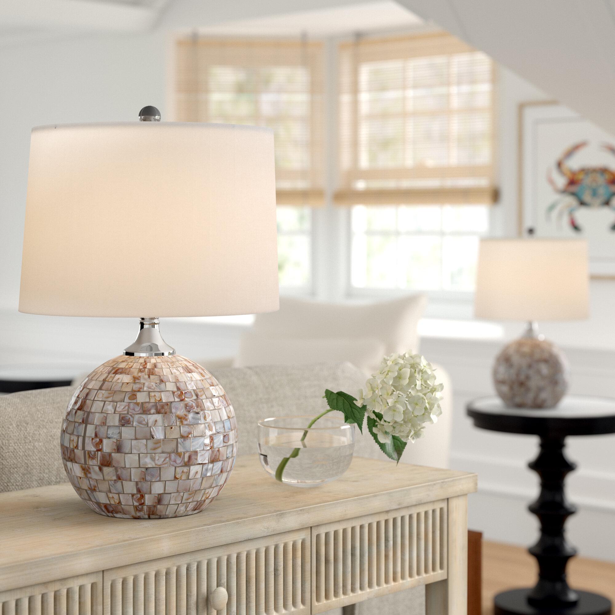 Highland dunes tazewell shell 21 5 table lamp reviews wayfair