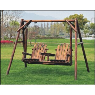 Lepley Outdoor Adirondack Chair 2 Seat Freestanding Log Porch Swing by Millwood Pines