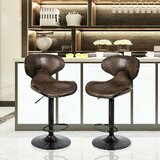 Bouvet Swivel Adjustable Height Bar Stool by Wrought Studio™