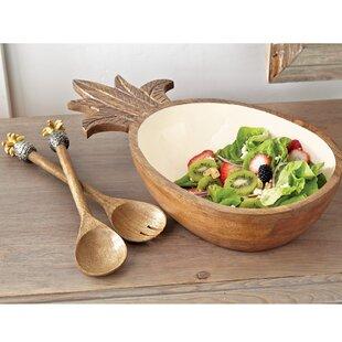 Top Reviews Pineapple Wood and Enamel Salad Serving Bowl ByMud Pie™