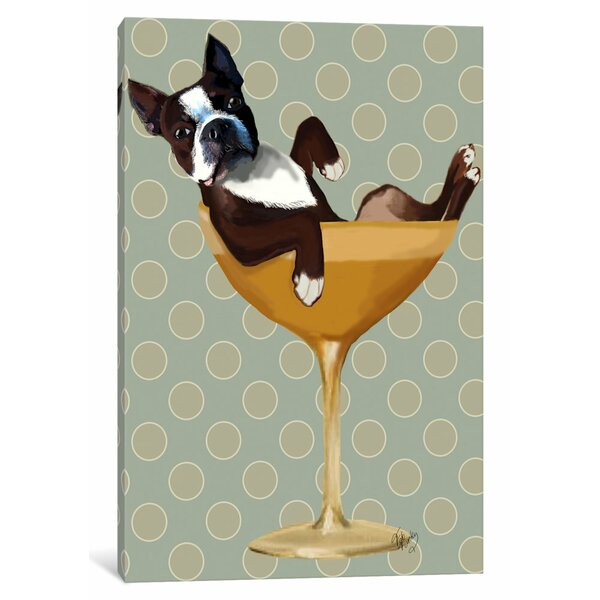 East Urban Home Boston Terrier In Cocktail Glass Graphic Art Print On Canvas Wayfair