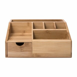 Charland Multifuntional Storage Bamboo Desk Organiser By Rebrilliant