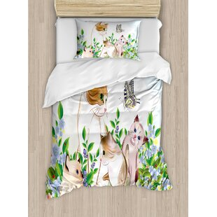 Cat Cute Kittens in Flower Meadow Field Happy Cats Family with Butterfly Kids Cartoon Print Duvet Cover Set