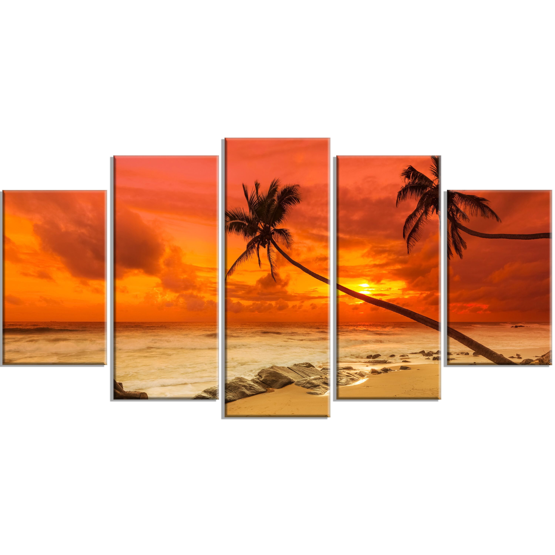 Designart Palms Silhouettes Bent To Seashore 5 Piece Wall Art On Wrapped Canvas Set Wayfair