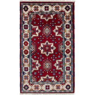 Best Price One-of-a-Kind Norene Hand-Knotted Wool Red/White Area Rug By Isabelline