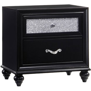 Broadnax Wooden 2 Drawer Nightstand