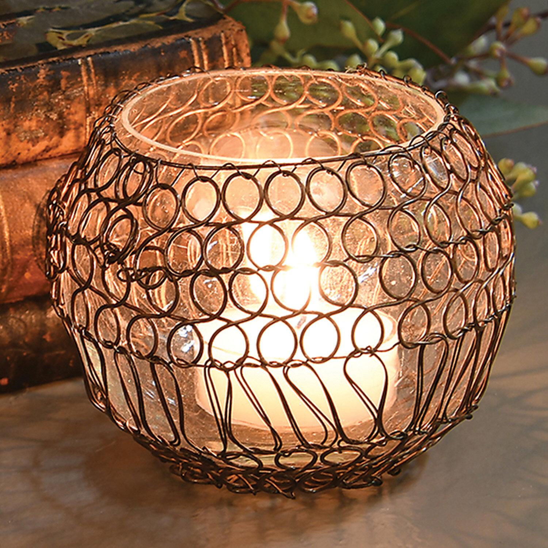Dakota Fields Twisted Wire Small Glass And Metal Votive Holder Wayfair