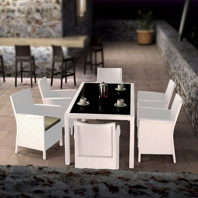 Brayden Studio Racheal 7 Piece Dining Set Color: White