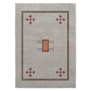 Geometric Gray/Red Area Rug