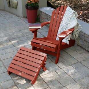 Camacho Plastic Folding Adirondack Chair with Ottoman