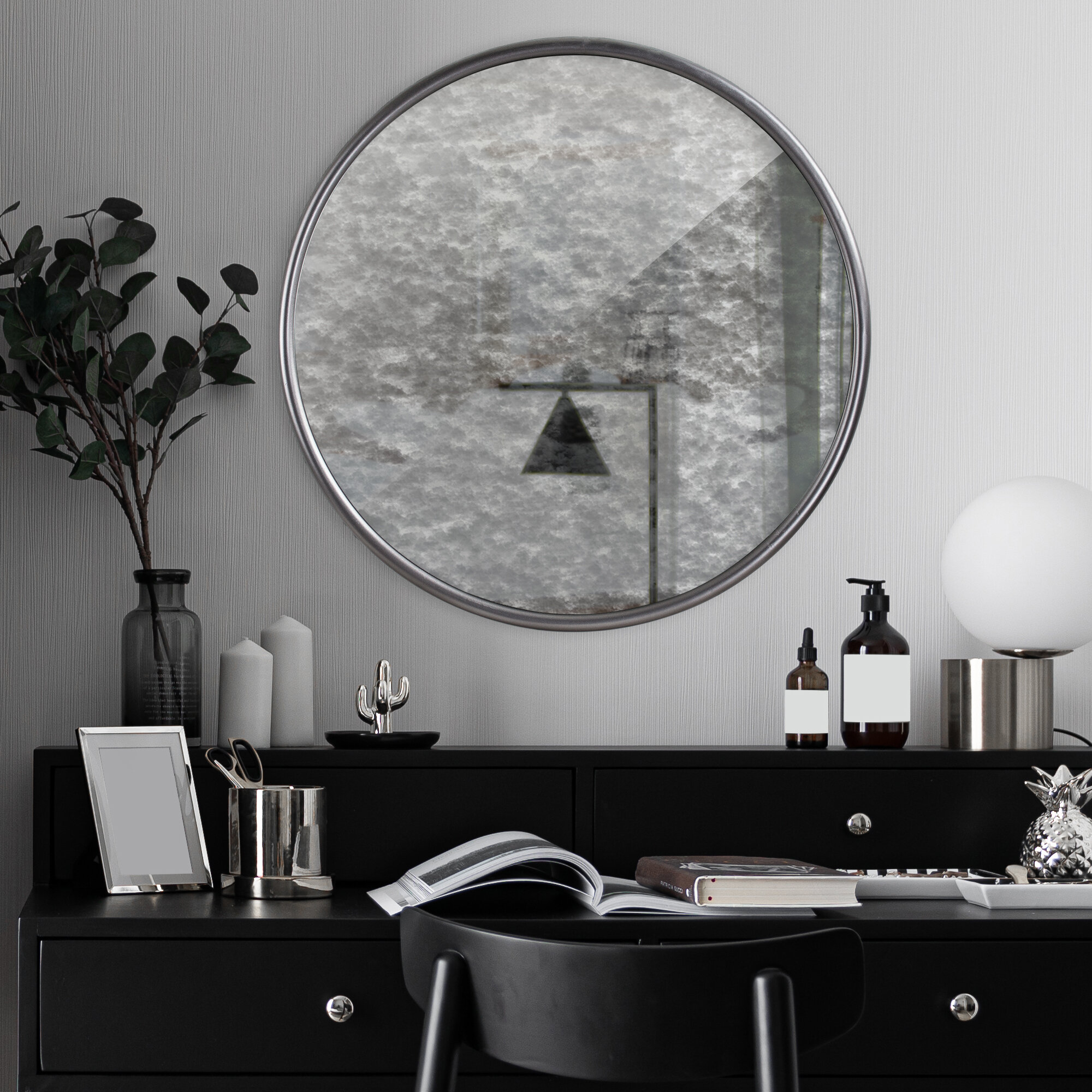 August Grove Meltham Round Silver Antiqued Framed Accent Mirror Wayfair