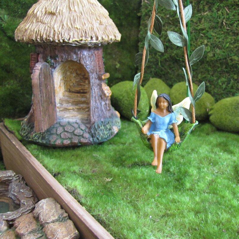 August Grove Charla Vine Tree Swing Dark Hair Fairy Girl Fairy