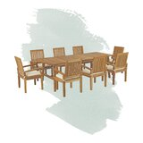 Anthony Outdoor Patio 9 Piece Teak Dining Set with Cushions