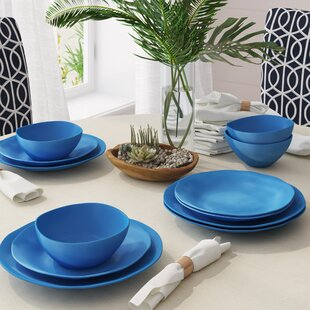 Caitlin 12 Piece Melamine Dinnerware Set, Service For 4