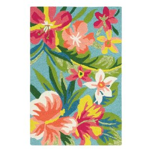 Mai Tai Hand-Hooked Green/Pink Indoor/Outdoor Area Rug