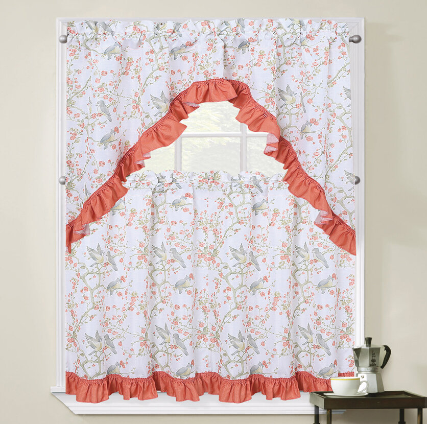 August Grove Zendell Birds And Blossom 3 Piece Kitchen Curtain Set Reviews Wayfair